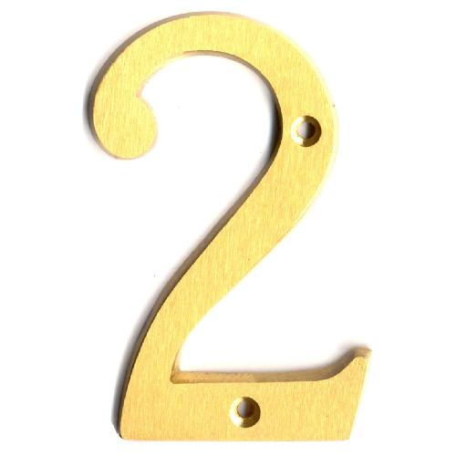 """Nail-On Metal Number - #2 - 4"""" - Satin Brass"""