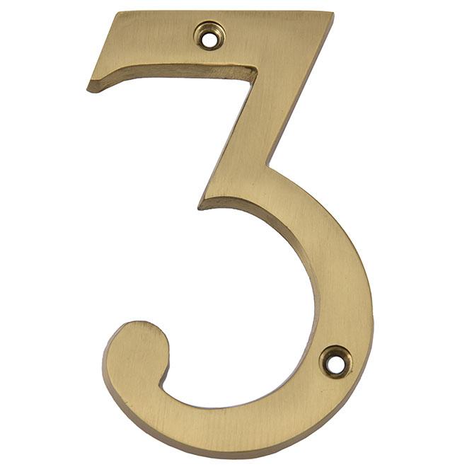 """Nail-On Metal Number - #3 - 4"""" - Satin Brass"""