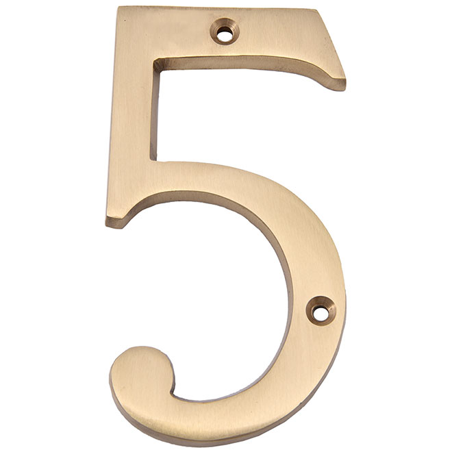 "Nail-On Metal Number - #5 - 4"" - Satin Brass"
