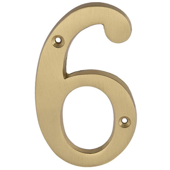 """Nail-On Metal Number - #6 - 4"""" - Satin Brass"""