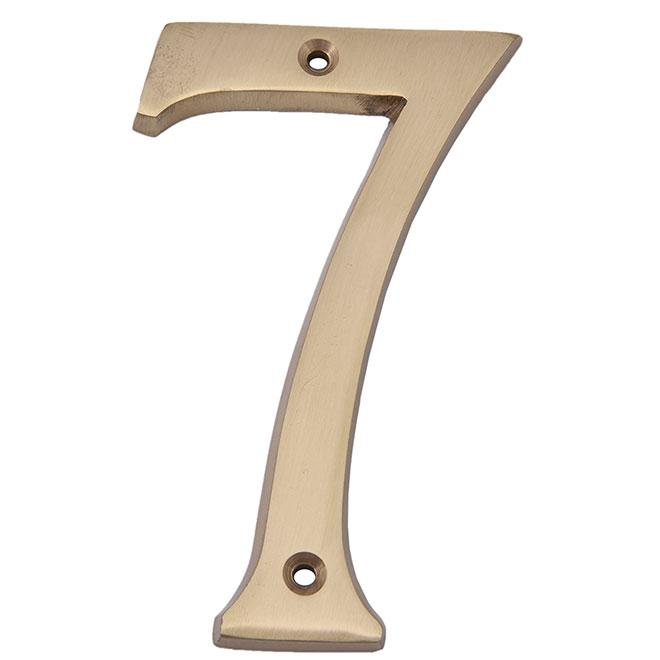 """Nail-On Metal Number - #7 - 4"""" - Satin Brass"""