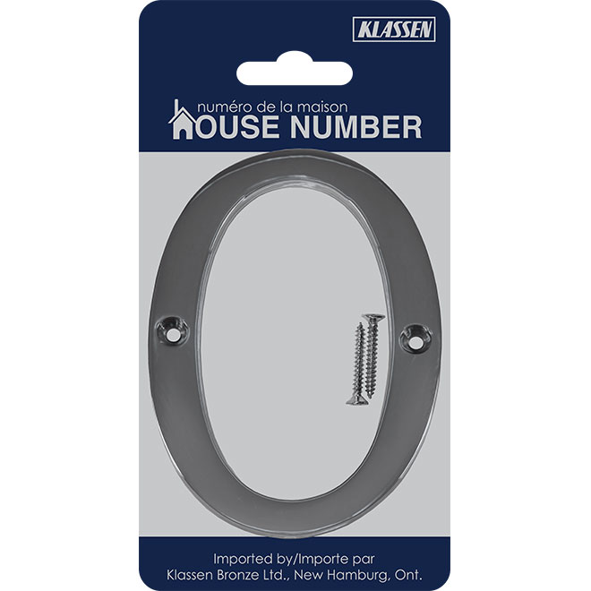 "Nail-On Metal Number - #0 - 4"" - Polished Chrome"