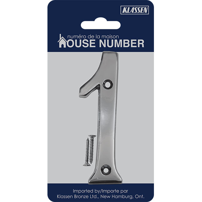 "Nail-On Metal Number - #1 - 4"" - Polished Chrome"