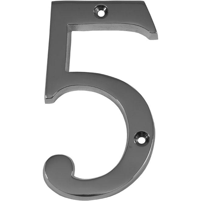 "Nail-On Metal Number - #5 - 4"" - Polished Chrome"