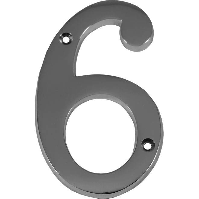 "Nail-On Metal Number - #6 - 4"" - Polished Chrome"