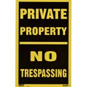 "Écriteau anglais « Private Property No Trespassing », 12"" x 19"""