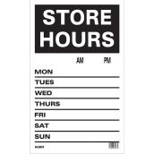 """Store Hours"" Sign - Mini-Jumbo - 12"" x 19"""