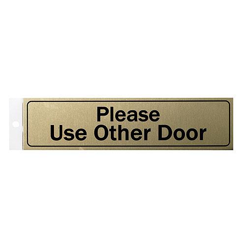 """""""Please Use Other Door"""" Metal Sign - 2"""" x 8"""" - Black"""