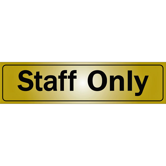"""Staff Only"" Metal Sign - 2"" x 8"" - Black"