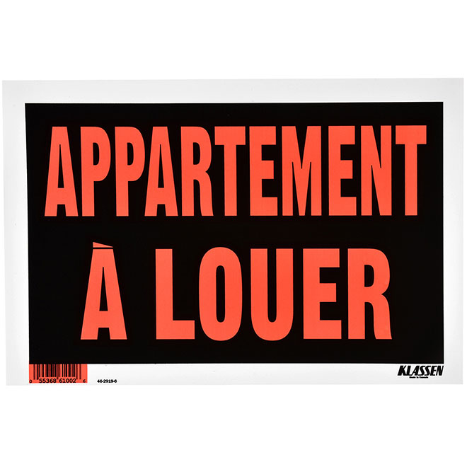 """Sign - """"APPARTEMENT À LOUER"""" - 8"""" x 12"""" - Red and Black"""