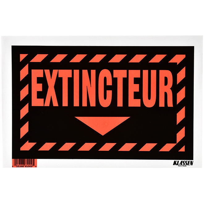 """Extincteur"" French Sign - Metal - 8"" x 12"" - Black"