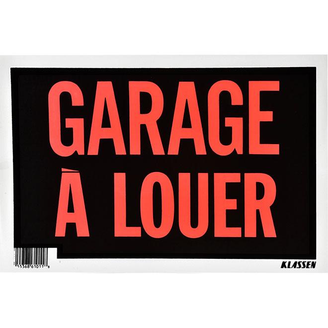 """Garage à louer"" French Sign - Metal - 8"" x 12"" - Black"