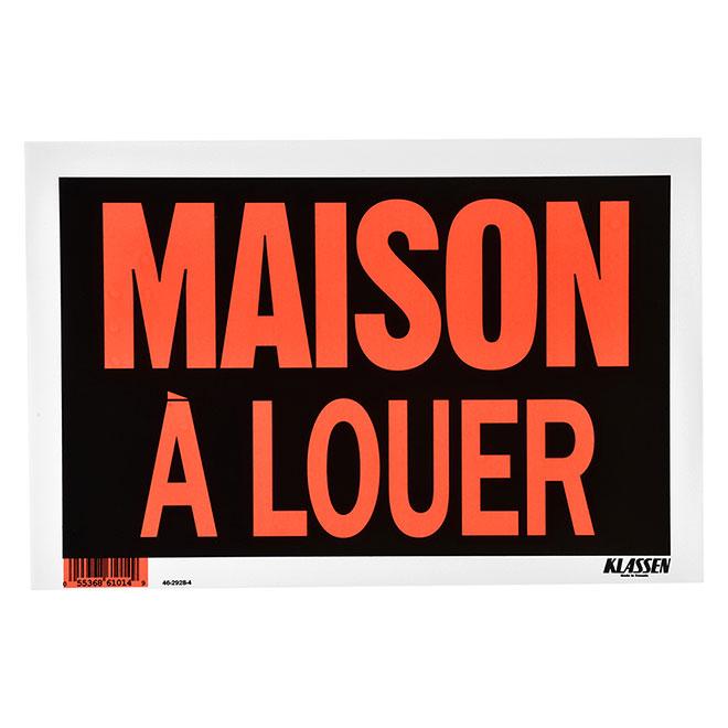 """Maison à louer"" French Sign - Metal - 8"" x 12"" - Black"