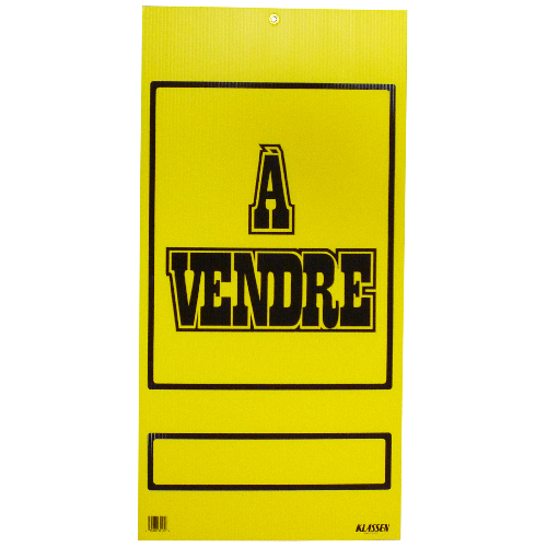 """À vendre"" French Sign - 16"" x 32"" - Yellow and Blue"