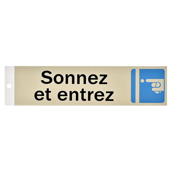 ''Sonnez et entrez'' - Sign - 2'' x 8''