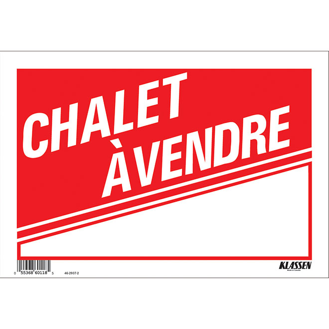 """Sign - """"CHALET À VENDRE"""" - 8"""" x 12"""" - Red and White"""