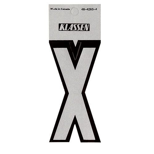 "Reflective Vinyl Letter - ""X"" - 3"" - Black and Silver"
