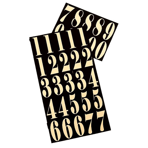 """Reflective Numbers - Vinyl - 2"""" - 35/PK - Black and Gold"""