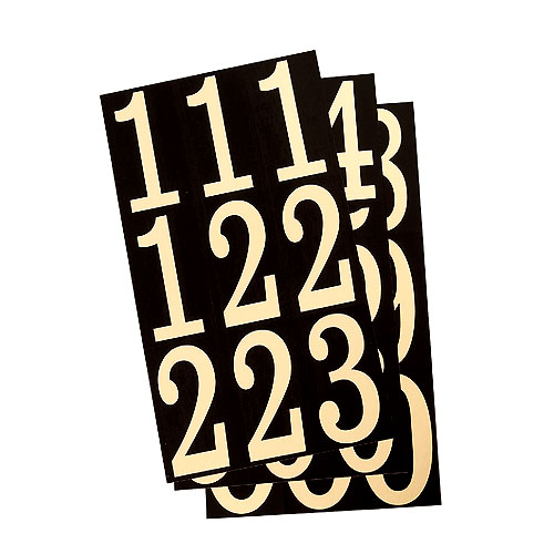 """Reflective Numbers - Vinyl - 3"""" - 27/PK - Black and Gold"""