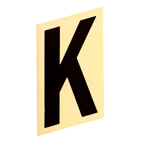 """Self-Adhesive Aluminum Letter - K - 3"""" - Black and Gold"""