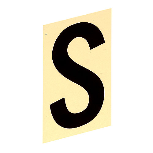 """Self-Adhesive Aluminum Letter - S - 3"""" - Black and Gold"""
