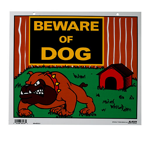 """Beware of Dog"" Sign - Red and Green"