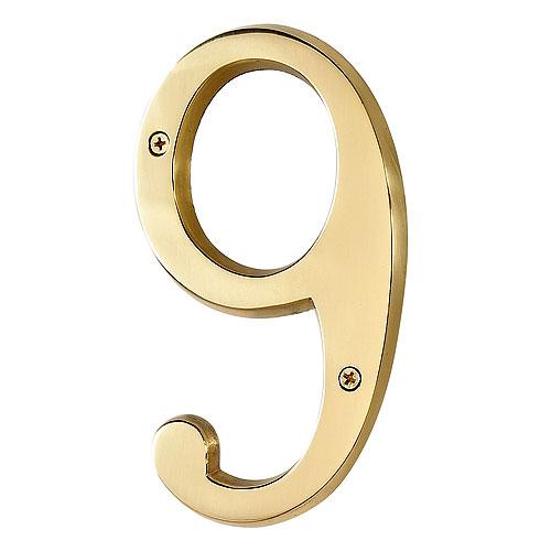 "Screw-On Brass Number - #9 - 6"""