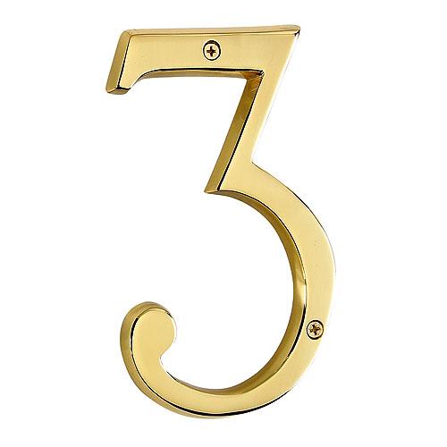 "Screw-On Brass Number - #3 - 6"""