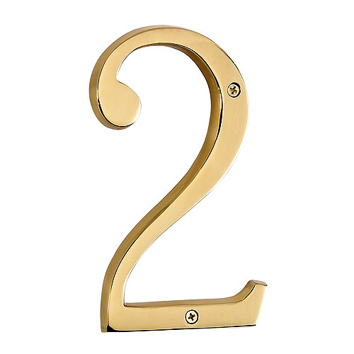 Screw-On Brass Number - #2 - 6""