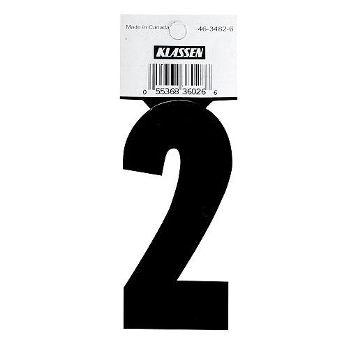 "Self-Adhesive Vinyl Number - Reflective - ""2"" - 3"" - Black"