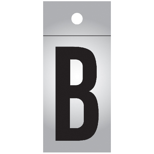 """Reflective Letter - Vinyl - B - 1"""" - Black and Silver"""