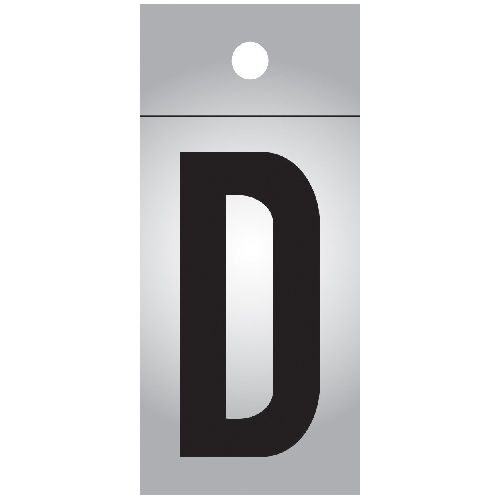 "Reflective Letter - Vinyl - D - 1"" - Black and Silver"