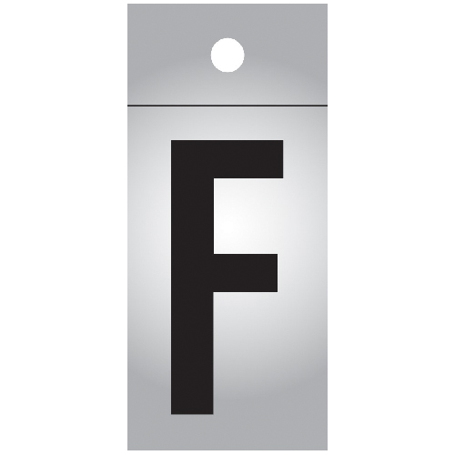 "Reflective Letter - Vinyl - F - 1"" - Black and Silver"