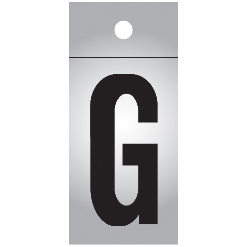 "Reflective Letter - Vinyl - G - 1"" - Black and Silver"