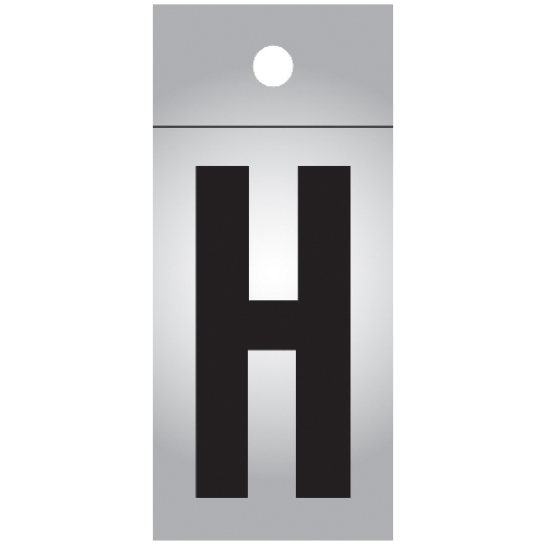 """Reflective Letter - Vinyl - H - 1"""" - Black and Silver"""