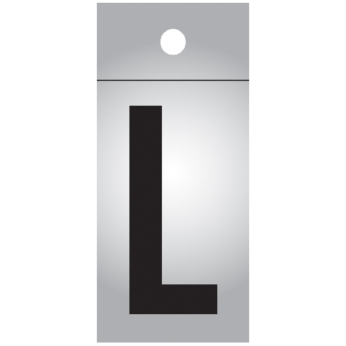 "Reflective Letter - Vinyl - L - 1"" - Black and Silver"