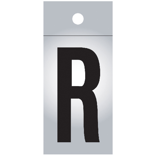 "Reflective Letter - Vinyl - R - 1"" - Black and Silver"