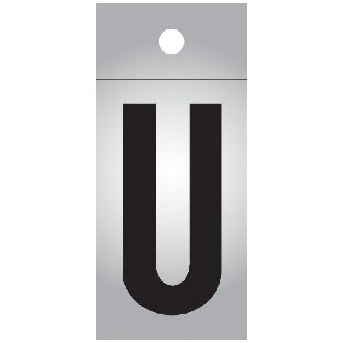 """Lettre réfléchissante en vinyle, U, 1"""", noir et argent"""