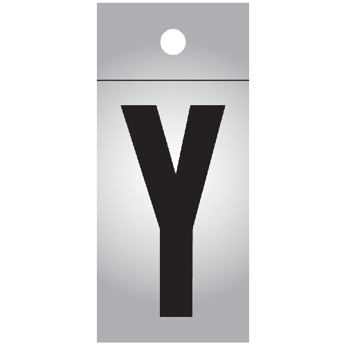 """Reflective Letter - Vinyl - Y - 1"""" - Black and Silver"""