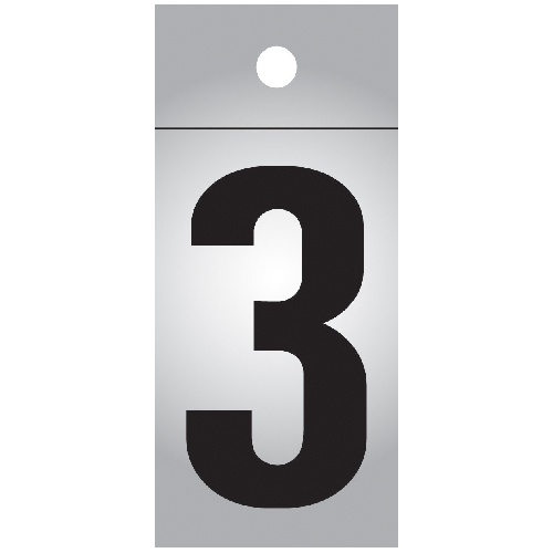 """Reflective Number - Vinyl - #3 - 1"""" - Black and Silver"""