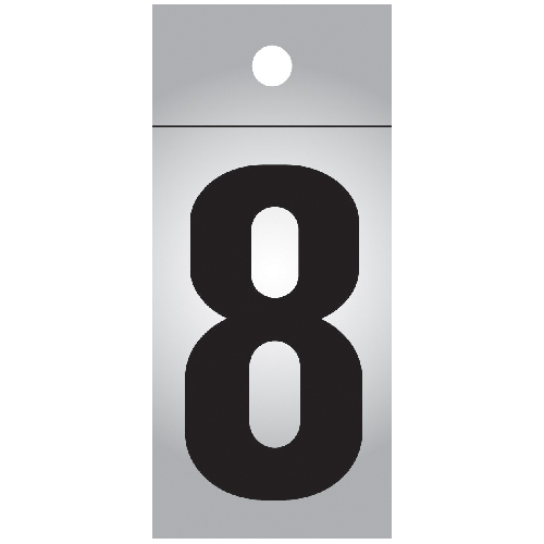 "Reflective Number - Vinyl - #8 - 1"" - Black and Silver"