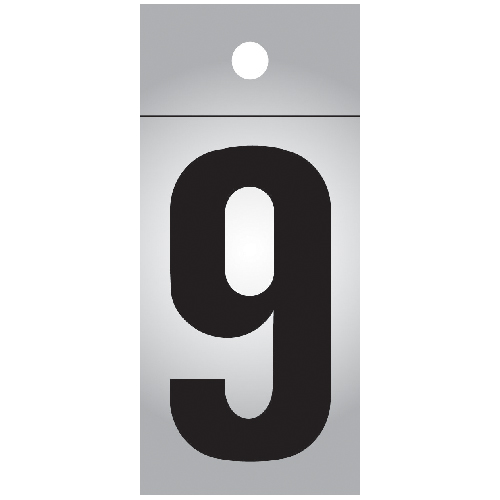 "Reflective Number - Vinyl - #9 - 1"" - Black and Silver"