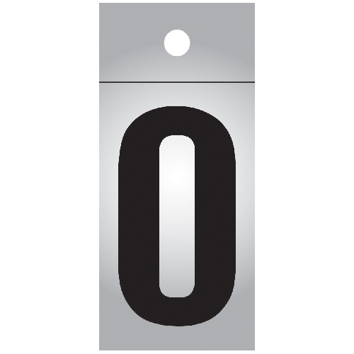 "Reflective Number - Vinyl - #0 - 1"" - Black and Silver"