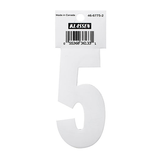 "Self-Adhesive Vinyl Number - Reflective - ""5"" - 3"" - White"