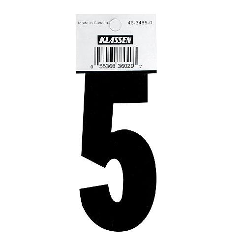 "Self-Adhesive Vinyl Number - Reflective - ""5"" - 3"" - Black"