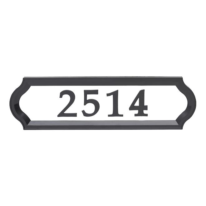 Plaque d'adresse Nite Bright, verticale, noire