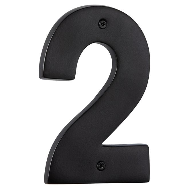 "Modern House Number - Satin Black - 5"" - (2)"
