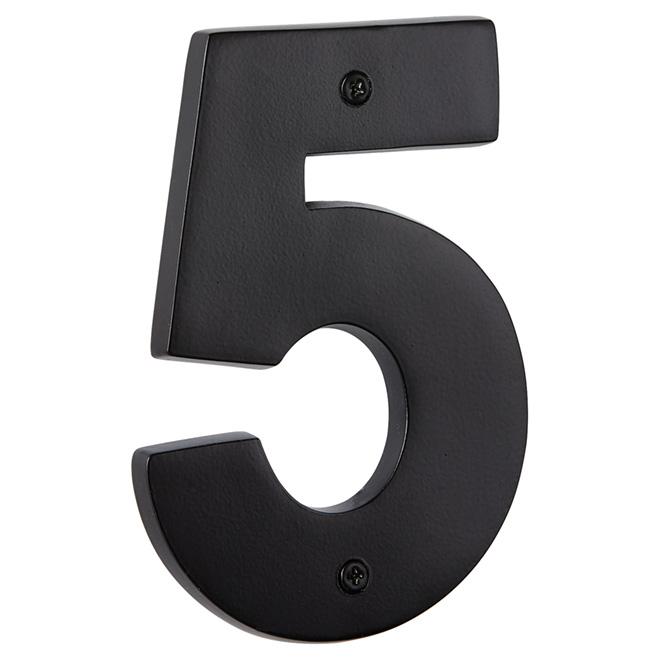 """Numéro de maison moderne, noir satiné, 5"""", -5-"""