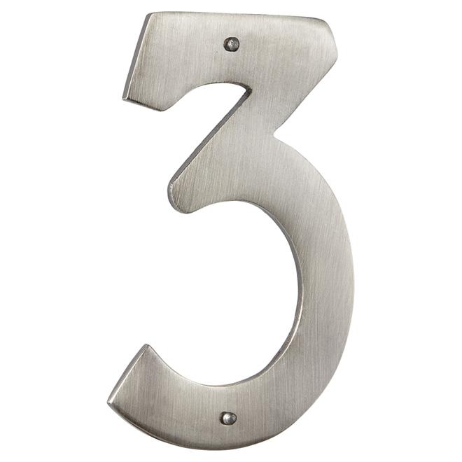 """Numéro de maison moderne, nickel antique, 3 1/2"""", -3-"""