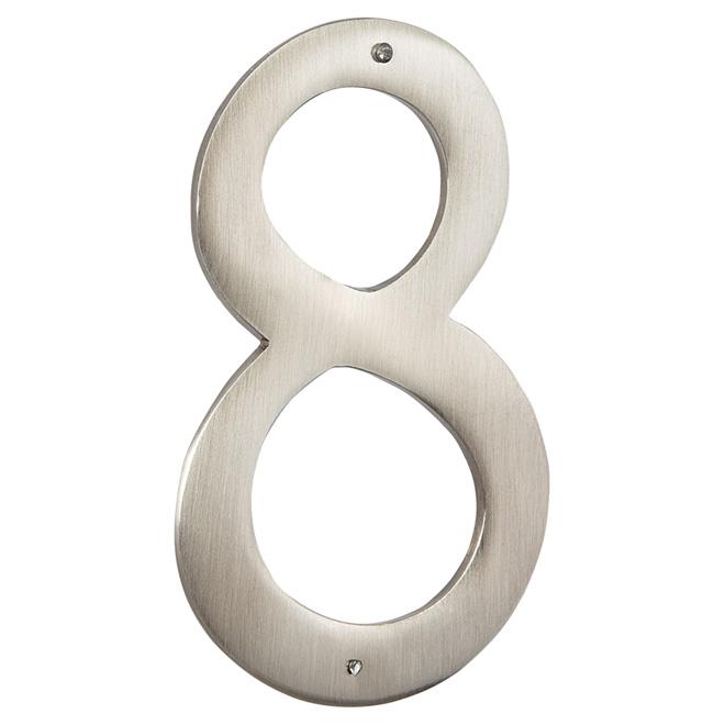 """Numéro de maison moderne, nickel antique, 3 1/2"""", -8-"""